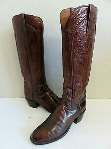 Vintage Lucchese Tall Cowboy Boots Brown Leather Womens 9B USA