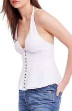 $120 FREE PEOPLE WOMENS WHITE GOLD SLEEVELESS CUTOUT TIE NECK BLOUSE TOP SIZE XS