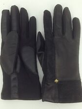 Women's ISOTONER Brand Black LEATHER DRESS Gloves - size M/L - $60 MSRP - 25%