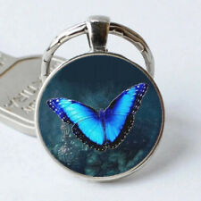 Blue butterfly Photo Silver Cabochon Glass Pendant Keychain Handmade