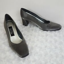 Stuart Weitzman Womens Pumps Silver Pewter Leather Sole Square Toe Heels 7 B
