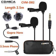 Comica Dual-head Omni-Directional Lavalier Lapel Clip-On Video Camera Microphone