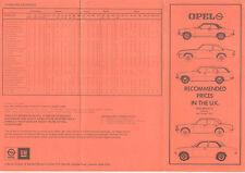 Opel Price List October 1975 for 1976 Kadett Manta Ascona Rekord Commodore