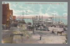 Old Postcard La Crosse Harbor on Mississippi River in La Crosse, Wisconsin