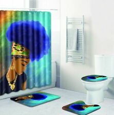 4pc. African American Queen Blue Afro Shower Curtain Rug Toilet Seat Mat Set