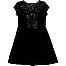 George Girls' Sequin Velour Holiday Dress Black Soot Size M 7/8 NWT