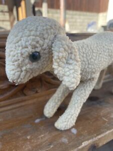 """Vintage German Steiff Textured Wool Plush Lamby Lamb 9-1/2"""" With Ear Button"""