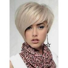 Hot Women Popular Short Light Blonde Straight Hair Cosplay Daily Party Full Wigs