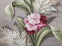 SALE! Coastal Chic Floral Barkcloth Era Vintage Fabric Drape Curtain 30's Home