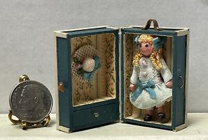 Vintage Artisan CSS Tiny Little Girl Doll In Trunk Dollhouse Miniature 1:12