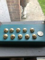 10 X 17mm Vintage Metal Gold Anchor Mushroom Shank Jacket Buttons Nautical
