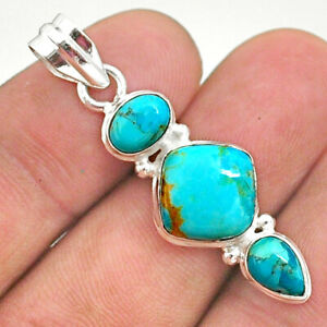 9.44cts Green Arizona Mohave Turquoise 925 Sterling Silver Pendant T34767