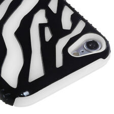 For iPod Touch 5 5th G Hybrid Zebra Fusion Silicone Case Phone Cover Black White