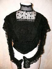 1880`s Victorian Black Silk Handmade Lace Blouse Top Victorian Opulence Corset