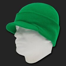 Kelly Green Ski Visor Beanie Hat Knit Skull Winter Jeep Snowboard Hats Beanies