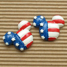 "USA SELLER - 10 pcs x 1.25"" Resin Mouse Flatback Patriotic Mickey Crafts SB513"