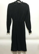 VTG Cheekaberry 70s Disco Black Pleated Long Sleeve Dress Sz 12 USA Sequins