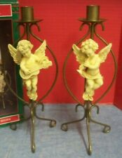 "1995 Christmas Around the World Set of 2 Cherub Angel Candle Holders Metal 11"" T"