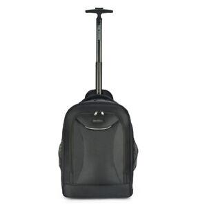 "Travel Wheeled Black Backpack, Nylon Rolling Backpack, Hold upto 15.6"" laptops"