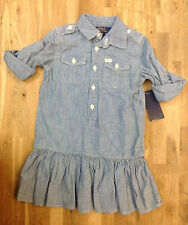 Ralph Lauren Little Girls' Utility Shirtdress, Blue, Size 4/4T