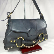 Authentic Rare Vintage Gucci Horsebit Black Leather Small Shoulder Hobo Handbag