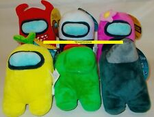 """6 AMONG US 6"""" Plush Dolls Crewmates PINK RED GREEN YELLOW BLACK 2021 New Tags"""