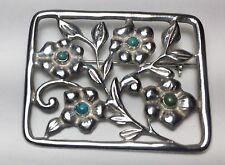Ornate MADE IN MEXICO SILVER Sterling & Turquoise Flowers 17 Grams