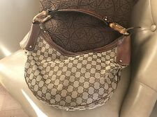 Authentic Gucci Bamboo Ring Half Moon Hobo Canvas Medium Shoulder Handbag Purse