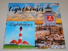 Lighthouses 2 Pack Wall Calendars 2021 - New Sealed - 12 Months