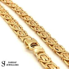"""Heavy Byzantine KING 9ct Yellow Geniune Gold 5mm Wide Solid Chain Mens 24"""" 35.6G"""