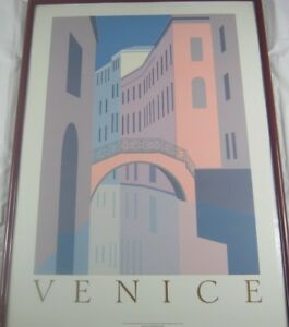 Vintage Original 1984 Silkscreen Poster Venice by Perry King Listed