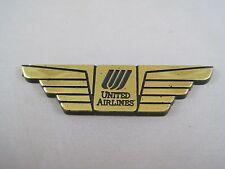 VINTAGE UNITED AIRLINES JR PILOT WINGS GOLD BLACK PLASTIC