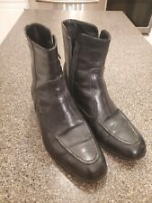 Mens Black Leather FLORSHEIM zipper ankle beetle boots dress shoes 7D. U9
