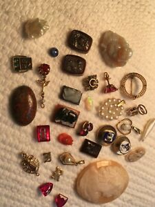 Large Lot of Antique Jewelry Parts - Some Gold - for  Repurposing and Repair
