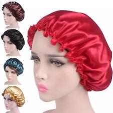 Silk Night Sleep Cap Hair Bonnet Hat Head Cover Satin Wide Adjust Elastic  Band aecbd867fe2
