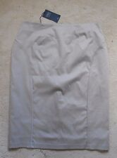 M&S Stone Colour Polyester Stretch Straight Tight Skirt (NEW)-UK Size 16(EUR 44)