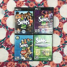 Sims 2 For PC Lot of 4 Games Expansion Packs University Nightlife Pets Ikea Teen