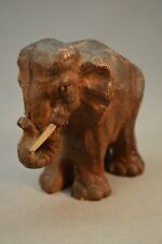 Antique Wood Grain Elephant Casting Sculpture Statue Great Patina and Age 3 1/2