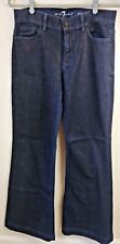 7 for All Mankind Ginger Wide Leg Jeans Lightweight Dark Mercer Sz 31/32 EUC
