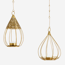 Pair of Hanging Gold Brass Wire Bird Cage Tea Light Holders, Votive Bali Boho