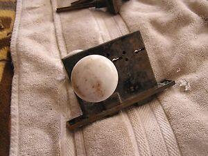 Antique Art Deco Set 2  Door Knobs Knob with Lock