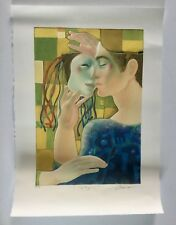 Alfonso Arana, Signed Man With Mask Lithograph, France, Puerto Rico Art