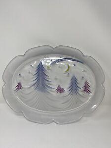 "Studio Nova Starlight 15"" Oval Platter Frosted Trees Moon Stars Colored Glass"