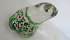 Glass Frog with Flower Bottom Paperweight Figurine