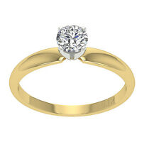 Solitaire Engagement Ring Band 0.55 Ct Round Cut Diamond Jewelry 14K Yellow Gold