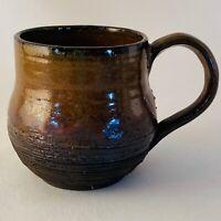 Wheel Thrown Studio Art Pottery Mug Brown Purple Charcoal Textured Signed EUC