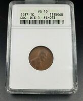 1917 Lincoln Wheat Cent Variety Coin ANACS VG10 Double Die DDO 001 FS-013 FS-101