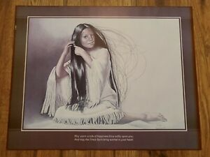 Rare 1980 Print Penni Anne Cross Alawa Sta-We-Ches native american 50 x 40cm