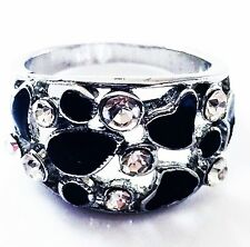USA RING Rhinestone Crystal Fashion Gemstone Silver Black White SIZE-8 03