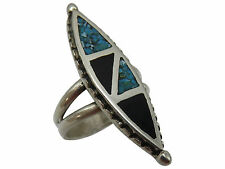 Vintage Biker Ring Turquoise Black Enamel Size 8 Unisex Silver Jewelry 81q
